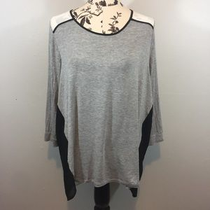 Forever 21 Grey White Black Chiffon 3/4 Sleeve Top